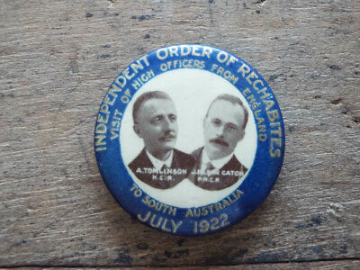 Antique 1922 Religious Independent Order of Rechabites Pinback Button Pin Badge