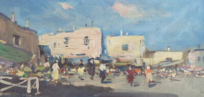 Vintage 1940s Original Oil On Canvas Painting Impressionism Market Cityscape