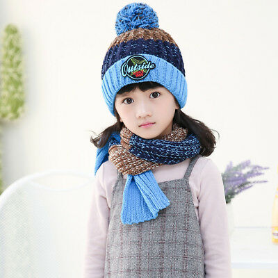 Fall winter plus velvet children's scarves two-piece suit boys girls hat scarf