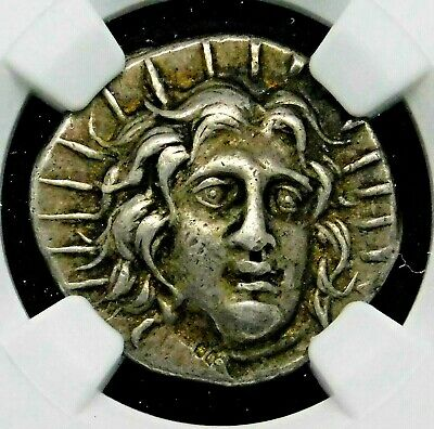 NGC Ch VF 4/5-4/5 Caria Islands of Rhodes. Exquisite Didrachm. Greek Silver Coin