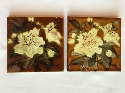 """2 Antique Oriental Lily Wade & Co Glazed 6"""" Ceramic Tiles Staffordshire, England"""