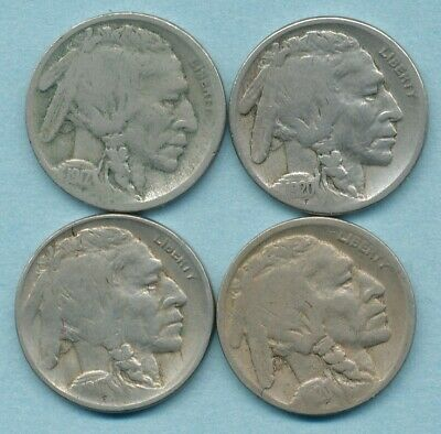 4 Early mm Buffalo Nickels 1917D, 1917S, 1920D, 1920S  G/VG Free Ship