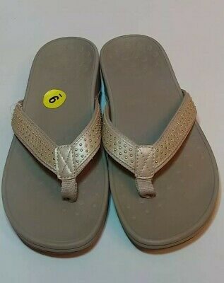 cd9ff1078307 VIONIC Kehoe Women s Beige Gold Studded Thong Wedge Sandals Size 9 NEW