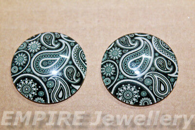1 x Black & White Paisley Pattern 25x25mm Glass Dome Cabochon Cameo Floral