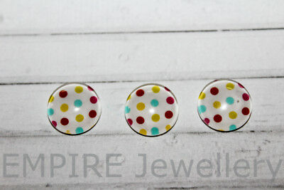 2 x Colourful Dots Pattern 12x12mm Glass Dome Cabochon Cameo Spots Polka