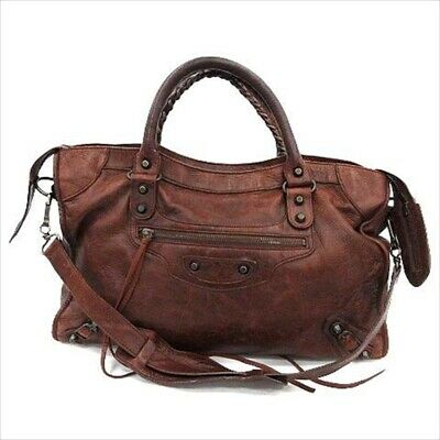 aa7eec62e2d Balenciaga 2Way Shoulder Hand Tote Bag The City Brown Leather 115748 Used