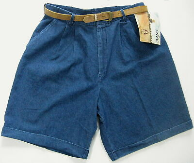 Vintage Chic Denim Shorts Sz 18 1980's High Waist Pleated Cuffs New With Tag NOS