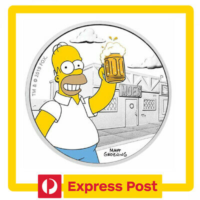2019 The Simpsons Homer Simpson Infront of Moes 1oz .9999 Silver Proof Coin - PM