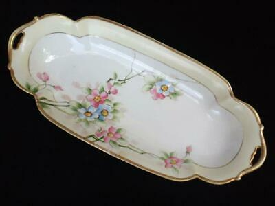 Antique Hand Painted Nippon Porcelain Long Oval Serving Dish Bowl w Blossoms