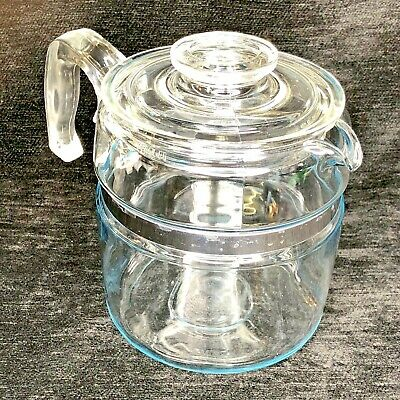 Vintage Pyrex 7756-B 6 Cup Coffee Pot w/ Lid Only Range Top Percolator Blue Tint