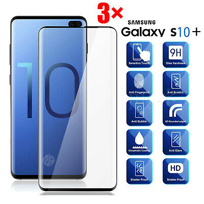 3Pack Fr Samsung Galaxy S10e S10 Plus Tempered Glass Full Cover Screen Protector