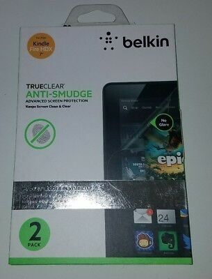 "New Belkin Anti-smudge Screen Protector for Kindle Fire HDX 7"" Trueclear 2 pack"