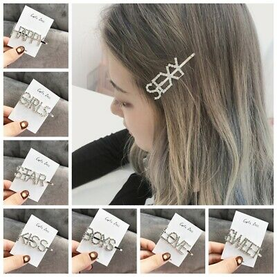Women Girls Crystal Rhinestone Words Hairpin Slide Barrette Hair Clips Headwear