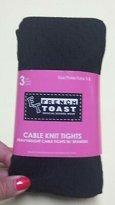 8b69f8865 FRENCH TOAST School Uniforms Girls 3 Pack Cable Knit Footed Tights -1 3  BLACK