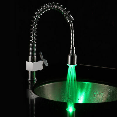 LED Color Changing Light Single Handle Kitchen Basin Faucet with Pullout Spray