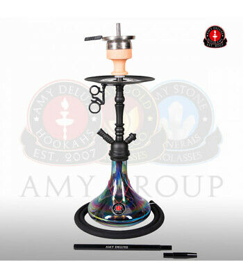 Amy Deluxe Shisha Middle Globe Rainbow - black - RS black powder | Wasserpfeife