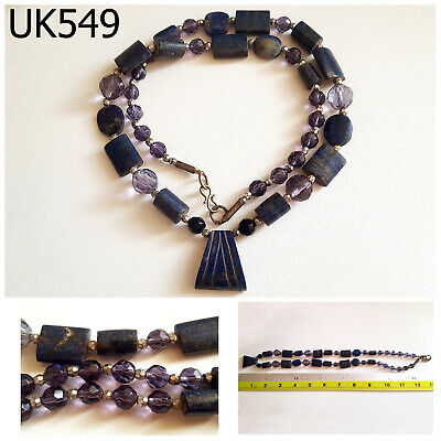Ancient Egypt Style Lapis Amethyst Carved Coin Tablet Hex Bead Necklace #UK549a