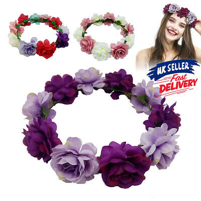 Women Boho Headband Flower Hair Garland Crown Wedding Headpiece Wreath Floral