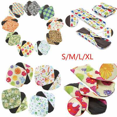 Women Cotton Menstrual Period Pads Sanitary Panty Liner Reusable Washable GD