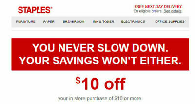 STAPLES $10 OFF $10 coupon in store EXP:03/16/19 super fast delivery