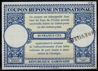 GABON GABUN XVIIa  40 FR. International Reply Coupon Reponse IRC IAS LIBREVILLE