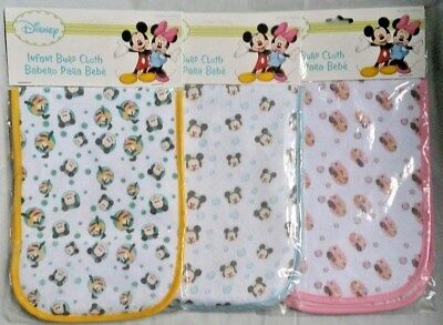 NEW Licensed DISNEY Burp Cloths  Choose from 3 Designs MICKEY, MINNIE Or PLUTO