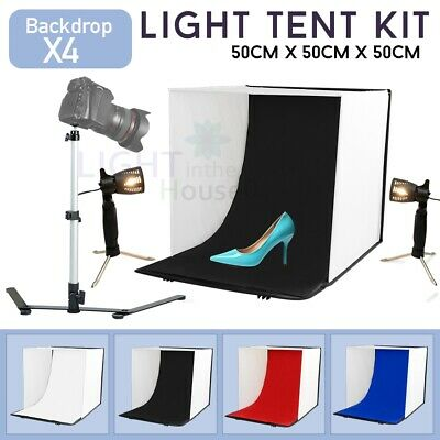 Large 50CM Photo Light Tent Cube Soft Box Studio Softbox Lighting w/ 4 Backdrops