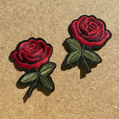 1pc Rose Flower Embroidered Patch Cloth Iron On Applique craft sewing #1189