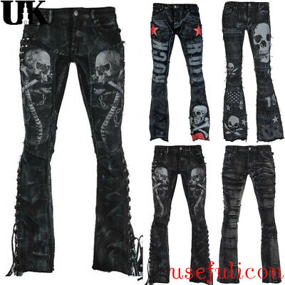 8d362a546e253 Womens Black Jeans Punk Flared Trousers Skull Print Denim Gothic Steampunk  Pants