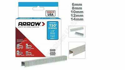 GENUINE ARROW T50 HEAVY DUTY STAPLES - (PACK OF 1250) - 6, 8, 10, 12, 14mm