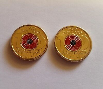 ** Australian $2 dollar 2018 Armistice Rememberance Red Poppy coins x 2