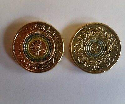 Australia 2017 $2 - Unc Rosemary Rememberance & Anzac Lest We Forget coins x 2