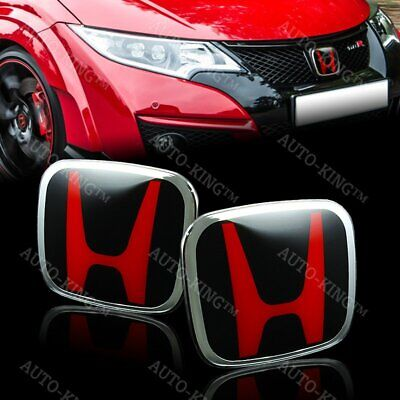 JDM Red & Black H New Emblem Front and Rear For 2018 Accord 4DR Sedan DX LX 2PCS