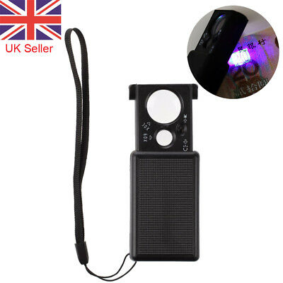 30x / 60x Magnifier Glass with Led Light Jeweller Magnifying Optical Loupe UK