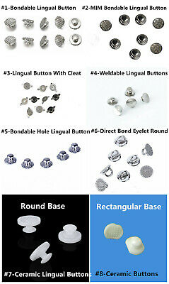 Dental Orthodontic Lingual Buttons Bondable Round Mesh Base Ortho Accessory