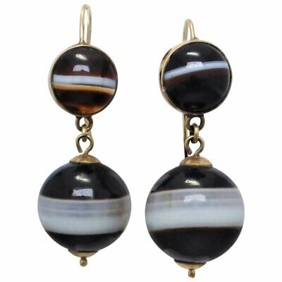 Antique VICTORIAN 9K Gold Banded Agate DANGLE EARRINGS, circa 1880-1900