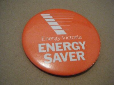 Vintage Energy Victoria ENERGY SAVER Australian metal pin back badge