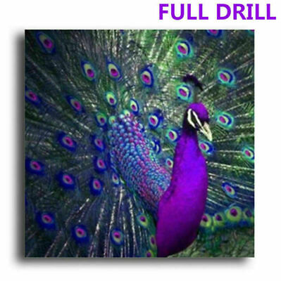 Full Drill Purple Peacock 5D Diamond Painting Embroidery Stitch DIY Hot Sale