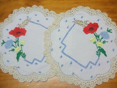 Vintage Embroidered Doilies From Grans Trunk. Pair Of Pretty Flower Ones