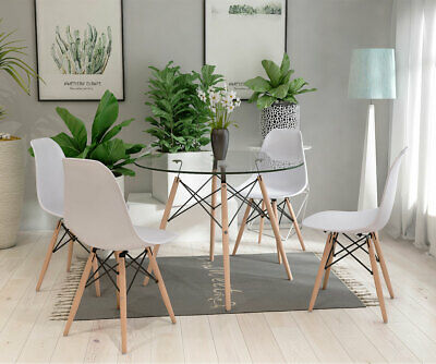 Sensational 90Cm Glass Dining Table Round And 2 4 Chairs Set White Dailytribune Chair Design For Home Dailytribuneorg