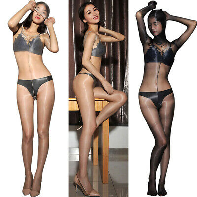 1Den Body Overall Strumpfhose Glanz Bodysuit Ouvert Catsuit Nylons Bodystocking