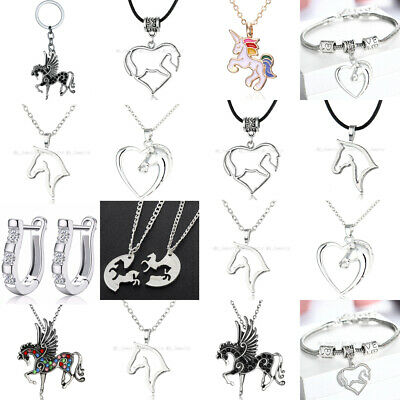 Heart Love Silver Chain Women Lady Horse Pendant Necklace Jewellery Charm Gifts