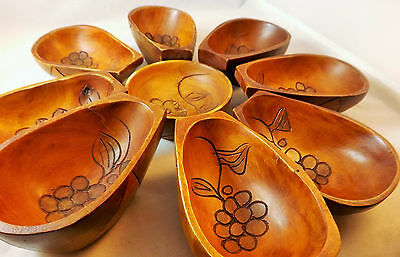 Hand Carved Wooden Chip & Dip Serving Center 9 Piece Beautiful Flower