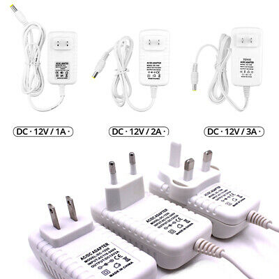 DC12V 1A 2A 3A EU/US Plug Power Adapter  AC 100-240V to DC 12V For LED strip