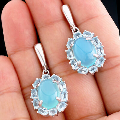 Natural 14X10Mm Blue Chalcedony & Sky Blue Topaz Sterling Silver 925 Earring