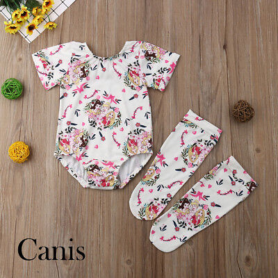 Newborn Infant Baby Girls Ariel Cartoon Romper Jumpsuit Stocking Clothes Outfit