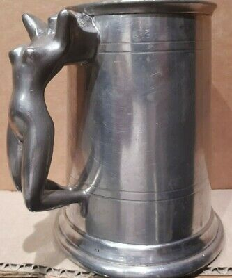Very Cool 1950s Naked Girl Handle Falstaff English Pewter Beer Stein