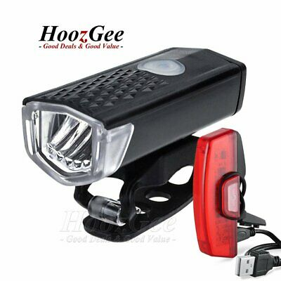 USB Rechargeable Mountain Bike Bicycle Cycling LED Front Rear Tail Light Lamp AU