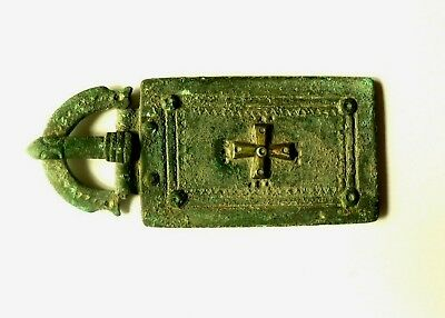 Byzantine Massive Bronze Belt Buckle With Silver Croos