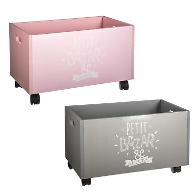 Toy Box Storage Chest With Wheels Children's Kids Playroom Container Organiser
